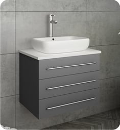 "Fresca FCB6185GR-VSL-I Modella 24"" Gray Wall Hung Modern Bathroom Cabinet with Top & Vessel Sink"