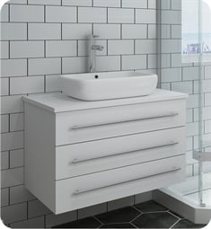 "Fresca FCB6183WH-VSL-I Lucera 30"" White Wall Hung Modern Bathroom Cabinet with Top & Vessel Sink"