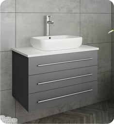 "Fresca FCB6183GR-VSL-I Modella 30"" Gray Wall Hung Modern Bathroom Cabinet with Top & Vessel Sink"