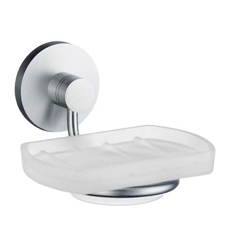 Smedbo NS342 Studio Holder with Glass Soap in Brushed Chrome