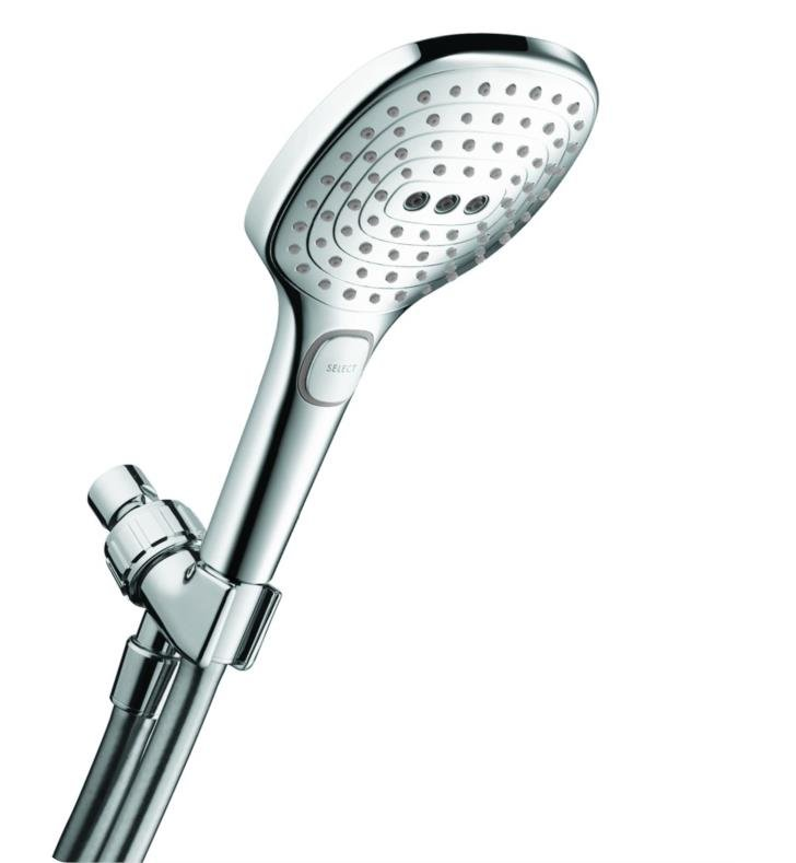 "Hansgrohe 04520820 Raindance Select E 120 Air Green 4 3/4"" 3-Jet Handshower Set with QuickClean, AirPower and Select Technologies With Finish: Brushed Nickel"