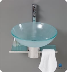 "Fresca FCB1012 Cristallino 18"" Modern Glass Bathroom Vanity with Frosted Vessel Sink"