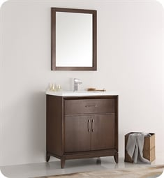 "Fresca Cambridge 30"" Antique Coffee Traditional Bathroom Vanity with Sink"
