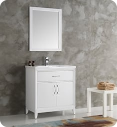 "Fresca Cambridge 30"" White Traditional Bathroom Vanity with Sink"