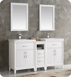 "Fresca FCB21-241224WH-I Cambridge 60"" White Traditional Bathroom Vanity with Double Sink"