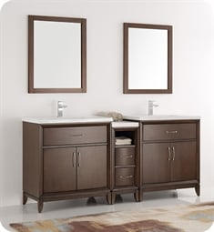 "Fresca FCB21-301230AC-I Cambridge 72"" Antique Coffee Traditional Bathroom Vanity with Double Sink"