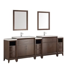 "Fresca FCB21-96AC-I Cambridge 96"" Antique Coffee Traditional Bathroom Vanity with Double Sink"