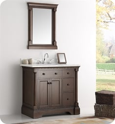 "Kingston 37"" Antique Coffee Traditional Bathroom Vanity with Sink"