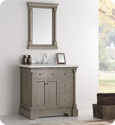 "Fresca Kingston 37"" Antique Silver Traditional Bathroom Vanity with Sink"