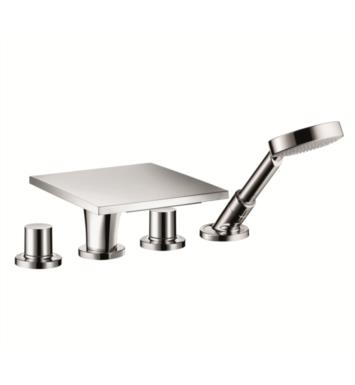 "Hansgrohe 18440001 Axor Massaud 9 1/2"" Four Hole Widespread/Deck Mounted Roman Tub Set Trim with Handshower"