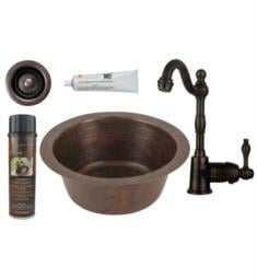 "Premier Copper Products BSP4-BR12DB2-B 12"" Round Hammered Copper Bar/Prep Sink with Single Handle Bar Faucet and 2"" Strainer Drain in Oil Rubbed Bronze"