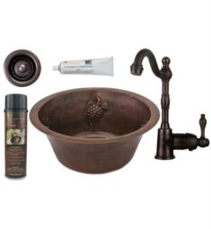 "Premier Copper Products BSP4-BR16GDB2-B 16"" Round Copper Grapes Bar/Prep Sink with Single Handle Bar Faucet with 2"" Strainer Drain in Oil Rubbed Bronze"