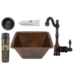"Premier Copper Products BSP4-BS15DB3-D 15"" Square Hammered Copper Bar/Prep Sink with Single Handle Bar Faucet and 3 1/2"" Strainer Drain in Oil Rubbed Bronze"
