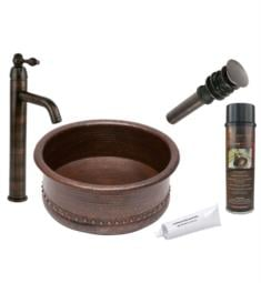 "Premier Copper Products BSP1-VRT15DB 15"" Round Tub Hammered Copper Vessel Sink and Faucet in Oil Rubbed Bronze"