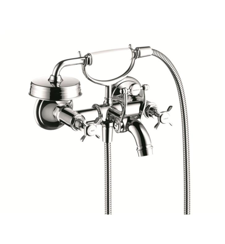 "Hansgrohe 16540001 Axor Montreux 6 7/8"" Double Handle Wall Mount Tub Filler with Handshower With Finish: Chrome"