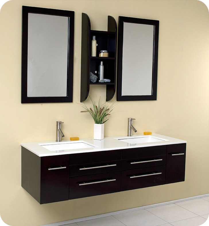 2 sink bathroom vanity. alt view name  Fresca FVN6119UNS Bellezza 59 Espresso Modern Double Sink