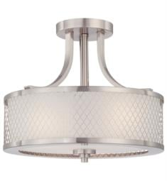 "Nuvo 60-4692 Fusion 3 Light 13 3/4"" Incandescent Semi-Flush Mount Ceiling Light in Brushed Nickel with Frosted Glass"