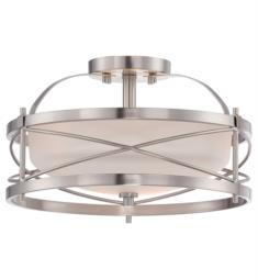"Nuvo 60-5331 Ginger 2 Light 14"" Incandescent Semi Flush Mount Ceiling Light in Brushed Nickel with Satin White Glass"