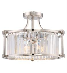 "Nuvo 60-5763 Krys 3 Light 17 3/4"" Incandescent Crystal Semi Flush Mount Ceiling Light in Polished Nickel with Clear Crystal Prisms"