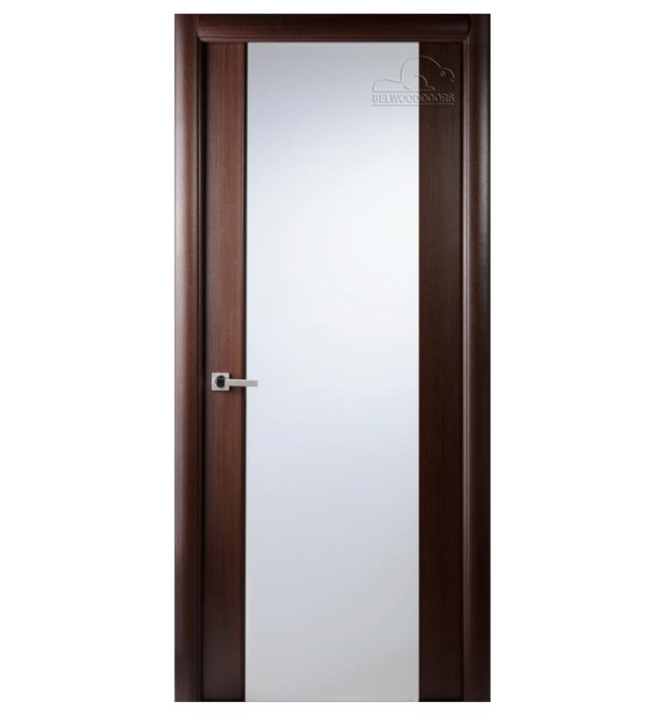Arazzinni G202-W-1880-JW-CW-FCW-SOSS212 Grand 202 Interior Door in a Wenge Finish with Frosted Glass With Door Width: 17 13/16 inches And Hanging Options: Complete with Door Jambs, Casing, Door Handle Pre-drilling, and Chrome SOSS Hinges