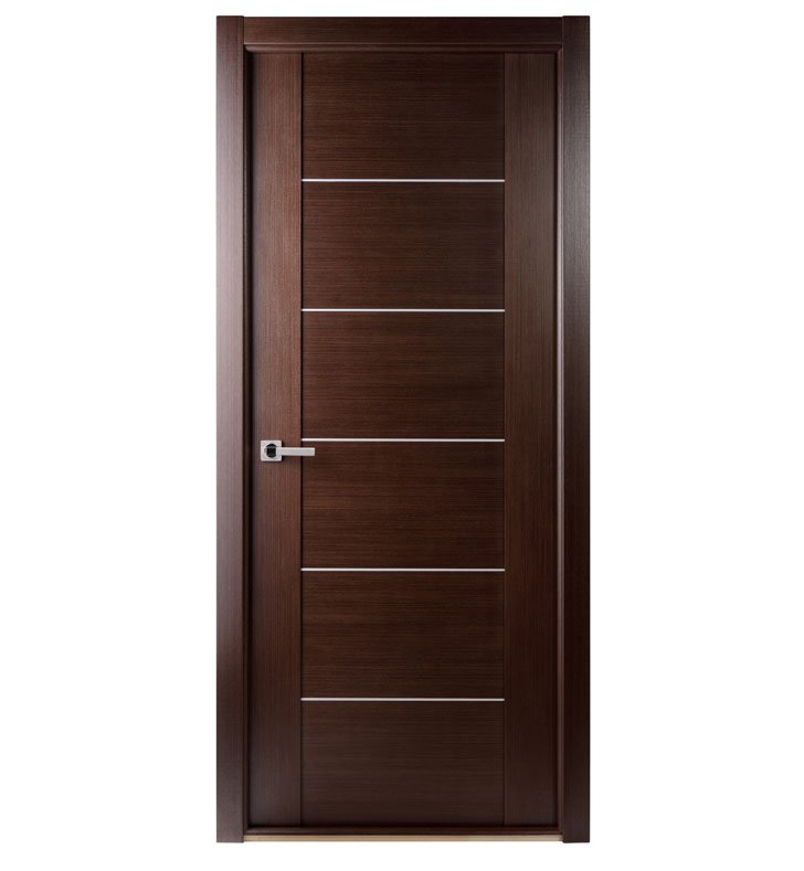 Arazzinni M201-W-3680-JW-CW-FCW-SOSS212 Maximum 201 Interior Door in a Wenge Finish with Aluminum Strips With Door Width: 35 13/16 inches And Hanging Options: Complete with Door Jambs, Casing, Door Handle Pre-drilling, and Chrome SOSS Hinges