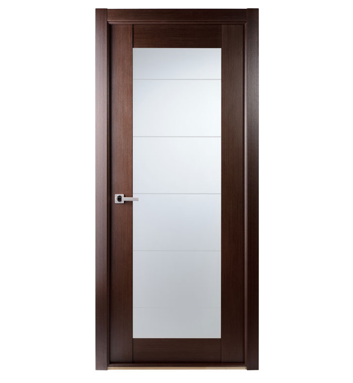 "Arazzinni M209-W-3280-JW-CW-FCW Maximum 209 Interior Door in a Wenge Finish with Frosted Glass With Door Width: 31 13/16 inches And Hanging Options: Door ""slab"", Door Jambs, & Casing only (no pre-cutting)"