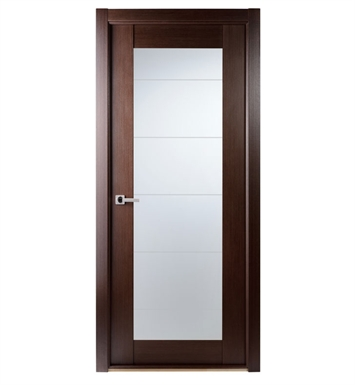 Arazzinni M209-W-3680-JW-CW-FCW-PBH Maximum 209 Interior Door in a Wenge Finish with Frosted Glass With Door Width: 35 13/16 inches And Hanging Options: Complete with Door Jambs, Casing, Door Handle Pre-drilling, and Chrome Plain Bearing Hinges