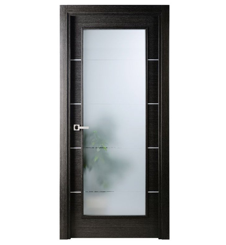 Arazzinni AV-BA-3080-JBA-CBA-SOSS212 Avanti Vetro Interior Door in a Black Apricot Finish with Silver Strips and Frosted Glass With Door Width: 29 13/16 inches And Hanging Options: Complete with Door Jambs, Casing, Door Handle Pre-drilling, and Chrome SOSS Hinges