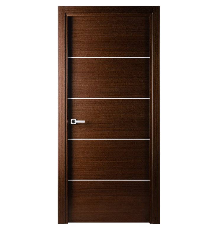 Arazzinni M-IW-3080-JIW-CIW-PBH Mia Interior Door in a Wenge Finish with Silver Strips With Door Width: 29 13/16 inches And Hanging Options: Complete with Door Jambs, Casing, Door Handle Pre-drilling, and Chrome Plain Bearing Hinges