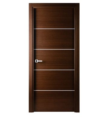 Arazzinni M-IW-3680-JIW-CIW-SOSS212 Mia Interior Door in a Wenge Finish with Silver Strips With Door Width: 35 13/16 inches And Hanging Options: Complete with Door Jambs, Casing, Door Handle Pre-drilling, and Chrome SOSS Hinges