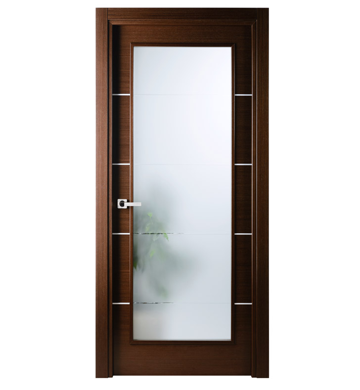 Arazzinni MV-IW-3680-JIW-CIW-PBH Mia Vetro Interior Door in a Wenge Finish with Silver Strips and Frosted Glass With Door Width: 35 13/16 inches And Hanging Options: Complete with Door Jambs, Casing, Door Handle Pre-drilling, and Chrome Plain Bearing Hinges