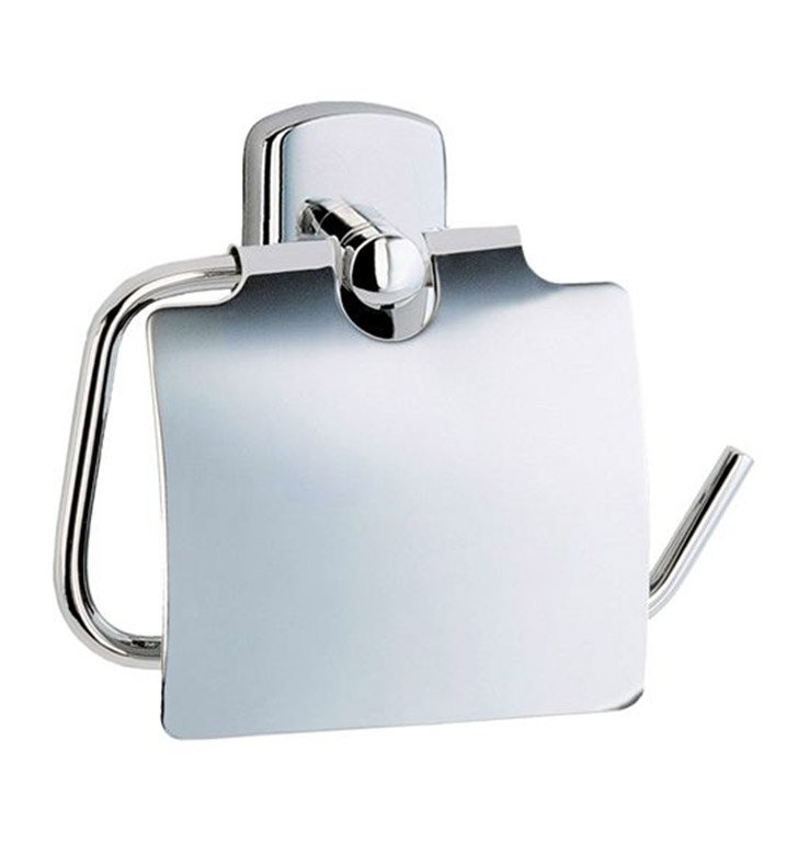 Smedbo CK3414 Cabin Toilet Roll Euro Holder With Lid in Polished Chrome