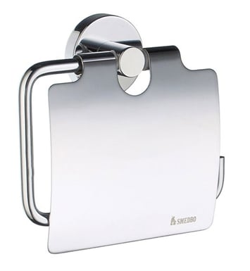 Smedbo HK3414 Home Toilet Roll Euro Holder With Lid in Polished Chrome
