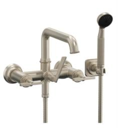 "California Faucets 8508B-ETW.18 Steampunk 6 1/4"" Wall Mount Low Spout Tub Filler with 1.8 GPM Handshower - Blade Handles"
