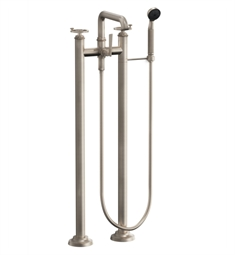 "California Faucets 8508W-ETF.18 Steampunk 35 3/8"" Floor Mount Low Spout Tub Filler with 1.8 GPM Handshower - Wheel Handles"