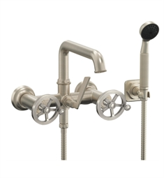 "California Faucets 8508W-ETW.20 Steampunk 6 1/4"" Wall Mount Low Spout Tub Filler with 2.0 GPM Handshower - Wheel Handles"