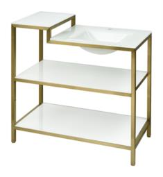 "Ryvyr V-ARGUN-36SG Argun 36"" Freestanding Single Bathroom Vanity Console in Satin Gold with Integral Sink and Shelves"