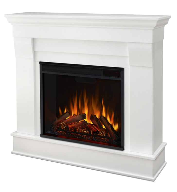 Real Flame 5910e W Chateau 41 Freestanding Electric Fireplace Mantel Package In White