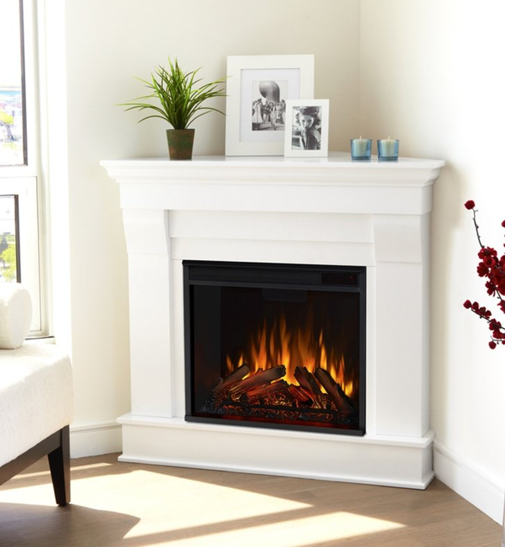 Real Flame 5950e W Chateau 41 Freestanding Corner Electric Fireplace Mantel Package In White