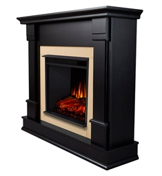 "Real Flame G8600E-B Silverton 48"" Freestanding Electric Fireplace Mantel Package in Black"