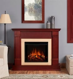 "Real Flame G8600E-DM Silverton 48"" Freestanding Electric Fireplace Mantel Package in Dark Mahogany"
