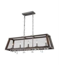 "ELK Home D3998 Renaissance Invention 5 Light 38"" Incandescent One Tier Linear Chandelier in Aged Wood/Weathered Zinc"