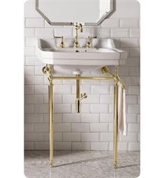 "James Martin 318-V24-BRS-CRM Wellington 24"" Single Console Single Sink with Brass Finish Stand"
