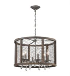 "ELK Home D4004 Renaissance Invention 6 Light 20"" Incandescent Crystal Glass One Tier Chandelier in Aged Wood/Weathered Zinc"