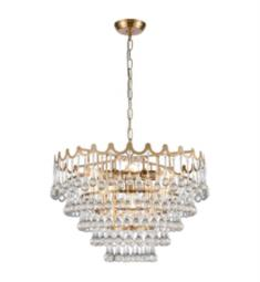 "ELK Home D4152 Juice 5 Light 23"" Incandescent Clear Crystal Three Tier Chandelier in Aged Brass"