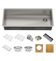 "Kraus KWU120-45 Kore 45"" Single Bowl Undermount Workstation Stainless Steel Rectangular Kitchen Sink"