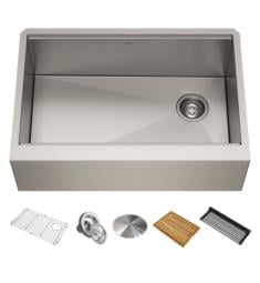 "Kraus KWF410-33 Kore 32 7/8"" Single Bowl Farmhouse/Apron Front Stainless Steel Rectangular Kitchen Sink"