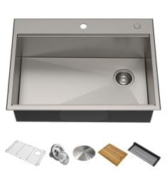 "Kraus KWT310-30 Kore 30"" Single Bowl Drop-In/Undermount Stainless Steel Rectangular Kitchen Sink"