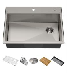 "Kraus KWT311-25 Kore 25"" Single Bowl Drop-In/Undermount Stainless Steel Rectangular Kitchen Sink"