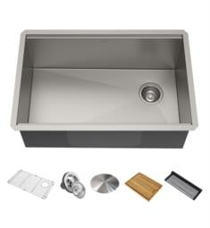 "Kraus KWU110-32 Kore 32"" Single Bowl Undermount Workstation Stainless Steel Rectangular Kitchen Sink"